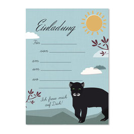 Geburtstagseinladung Panther | 6 x DIN A6 Karten + 6 Umschläge