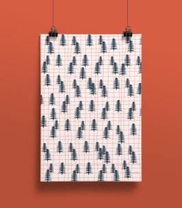 Geschenkpapier Raster Wald | 50 x 70 cm