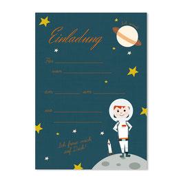Geburtstagseinladung kleiner Astronaut | 6 x DIN A6 Karten + 6 Umschläge