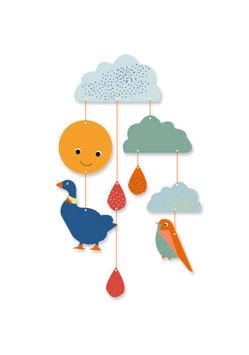 Mobile »Wolken-Freunde«  | 2 Bastelbögen mit 10 Motiven