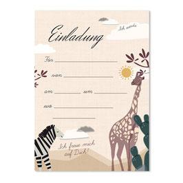 Geburtstagseinladung wilde Tiere | 6 x DIN A6 Karten + 6 Umschläge