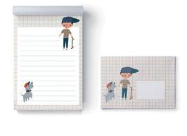 Briefpapier-Set Junge und Hund