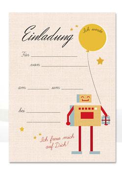 Geburtstagseinladung Roboter| 6 x DIN A6 Karten + 6 Umschläge