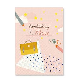 Einladungskarten Einschulung Mädchen | 6 x DIN A6 Karten + 6 Umschläge
