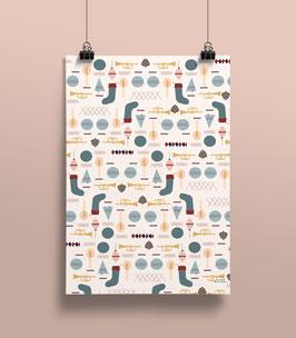 Geschenkpapier Symbole Weihnachten | 50 x 70 cm