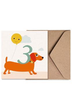 Nummer Drei | Klappkarte: DIN A6 + Umschlag