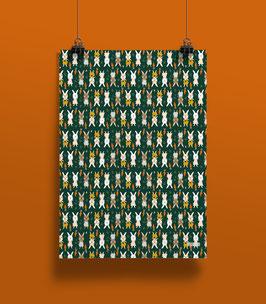 NEU Geschenkpapier Hasen grün | 50 x 70 cm