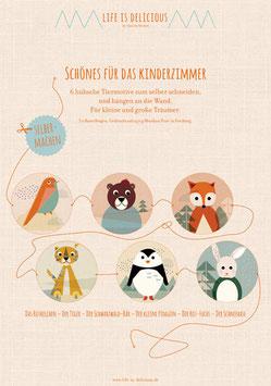 Tiergirlande fürs Kinderzimmer | 3 Bastelbögen mit 6 unterschiedlichen Tiermotiven