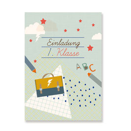 Einladungskarten Einschulung Jungen | 6 x DIN A6 Karten + 6 Umschläge