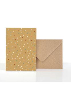 Wendekarte Curry + Blau Geometrie | Klappkarte mit Umschlag