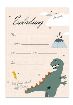 Geburtstagseinladung Dino | 6 x DIN A6 Karten + 6 Umschläge