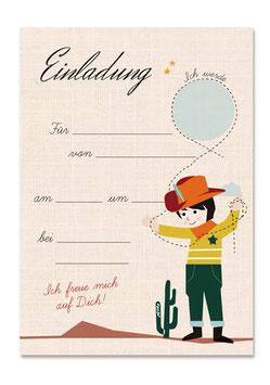 Geburtstagseinladung Cowboy | 6 x DIN A6 Karten + 6 Umschläge