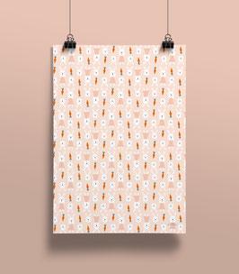 NEU Geschenkpapier Hasen rosa | 50 x 70 cm
