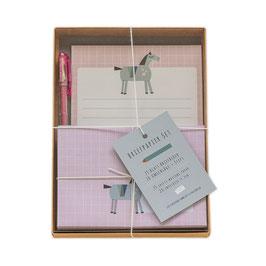 Briefpapier-Set Motiv Pferd mit Geschenkbox und Glitzer Stift