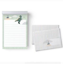 Briefpapier-Set Motiv Dino