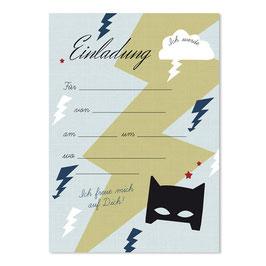 Geburtstagseinladung Superheld| 6 x DIN A6 Karten + 6 Umschläge