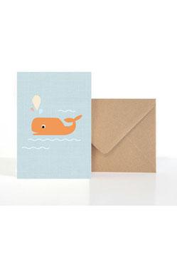 Hallo kleiner Wal | Klappkarte: DIN A6 + Umschlag