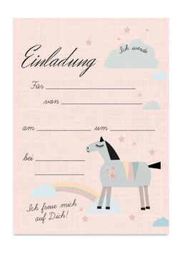 Geburtstagseinladung Pferd | 6 x DIN A6 Karten + 6 Umschläge