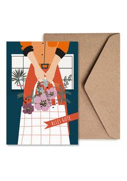 Alles Gute Blumengrüße| Klappkarte: DIN A6 + Umschlag