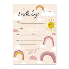 Geburtstagseinladung Regenbogen | 6 x DIN A6 Karten + 6 Umschläge