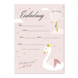 Geburtstagseinladung Schwan | 6 x DIN A6 Karten + 6 Umschläge