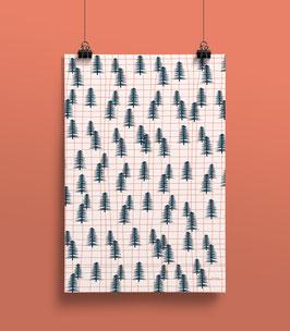 Geschenkpapier Wald Raster| 50 x 70 cm