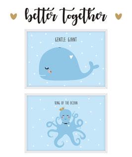 Posterpärchen - Wal & Oktopus