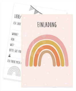 Einladungskarte mit Regenbogen - Motiv