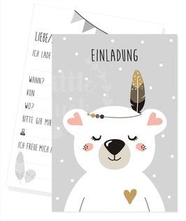Einladungskarte mit Eisbärmotiv