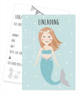 Einladungskarte mit Meerjungfrau / Nixe