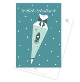"""Postkarte """"Endlich Schulkind"""", Rakete"""