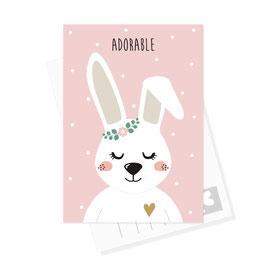 Postkarte Hase - Adorable