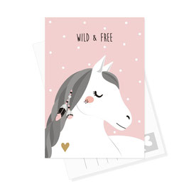 Postkarte Pferd - Wild & Free
