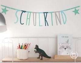SCHULKIND Buchstaben - Girlande |  Blau- / Grün- / Grautöne