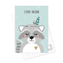 Postkarte Waschbär - Clever Racoon