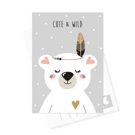 Postkarte Eisbär - Cute & Wild
