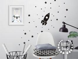 Wandsticker Rakete und Sterne