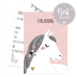 Einladungskarte mit Pferdemotiv