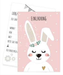Einladungskarte mit Hasenmotiv
