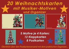 20 Weihnachtskarten mit Musiker-Motiven