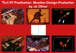 Musiker Postkarten Set (6 Motive/12 Postkarten)