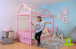 Cama Individual Montessori Modelo Cercas en color rosa