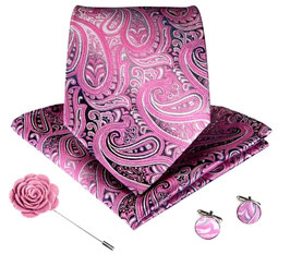 SET CRAVATE ROSE 100% SOIE JACQUARD