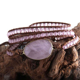 BRACELET-COLLIER PIERRES NATURELLES QUARTZ ROSE