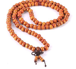 COLLIER-BRACELET-MALA DE MÉDITATION BOIS DE SANTAL MARRON