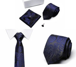 SET CRAVATE BLEU MARINE 100% SOIE JACQUARD