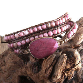 BRACELET-COLLIER PIERRES NATURELLES RHODONITE ROSE