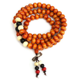 BRACELET-COLLIER-MALA DE MEDITATION BOIS DE SANTAL MARRON
