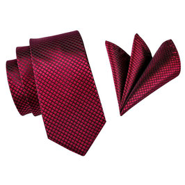 SET CRAVATE ROUGE-BORDEAUX  100% SOIE JACQUARD