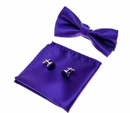 SET NOEUD PAPILLON VIOLET  100% SOIE